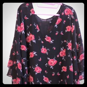 Lane Bryant black & red floral blouse